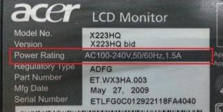 daya listrik lcd monitor